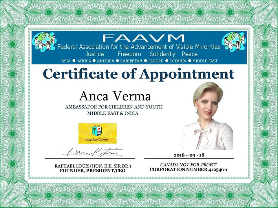 FAAVM appoints Anca Verma as ambassador for Children and Youth