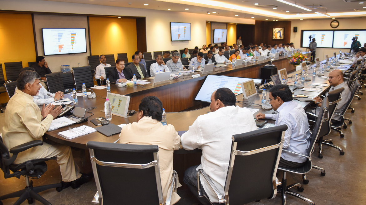 Chandrababu Naidu holds Video Conference with Secretaries, HODs and Collectors