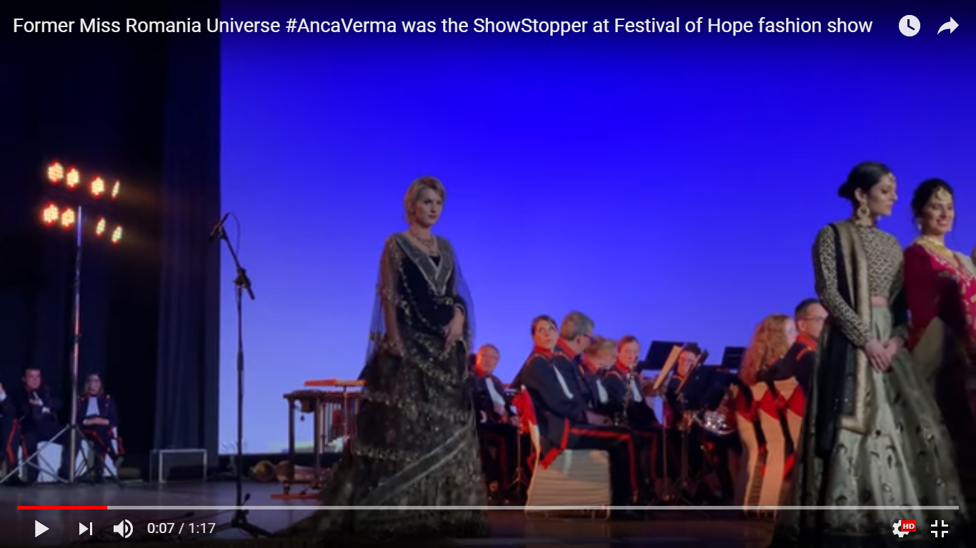 Former Miss Romania Universe Anca Verma walks the ramp to raise fund for cancer survivors