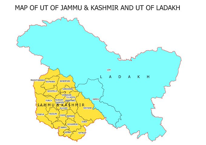 India releases maps of newly-created Union Territories of Jammu and Kashmir, Ladakh