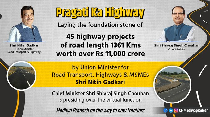 Nitin Gadkari lays foundation stones of 45 highway projects in Madhya Pradesh