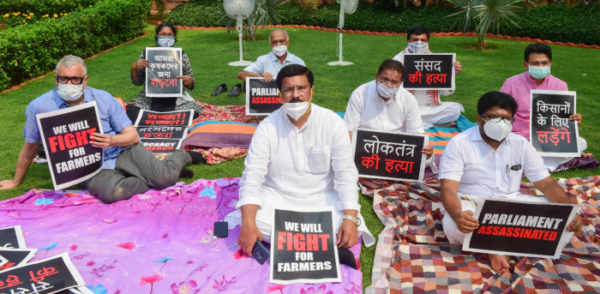 Opposition parties hit out at government over suspension of 8 MPs, hold protest on Parliament premises