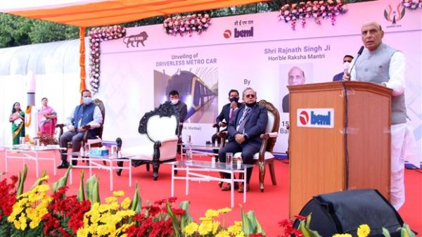 Rajnath Singh unveils India's first indigenously designed & developed driverless Metro Car