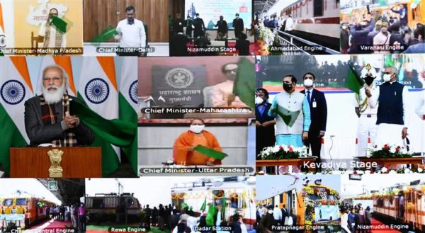 Narendra Modi flags off eight trains facilitating seamless rail connectivity to Statue of Unity