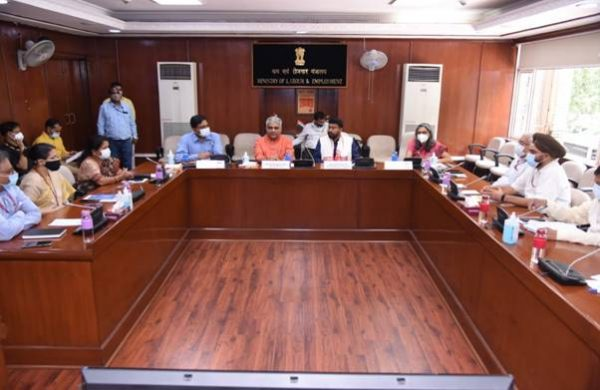 Union Labour & Employment Minister Bhupendra Yadav and MoS Rameswar Teli take charge of new assignments