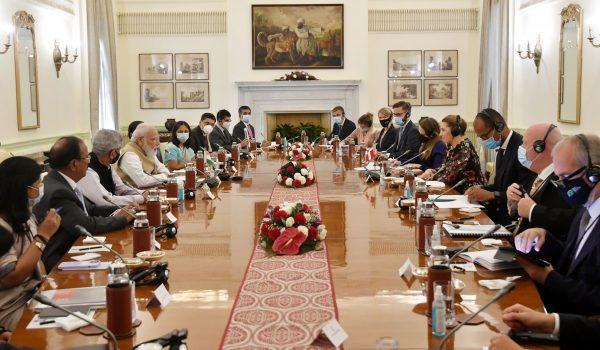 PM Narendra Modi holds talks with Danish counterpart